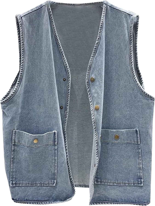 Ainangua Women's Denim Vest Sleeveless Washed Distressed Short Slim Jean Vest Jacket with pocket
