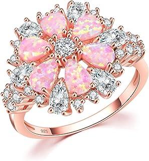 خاتم العقيق الوردي العقيق مكعب زركونيا CZ خاتم 14K روز مطلي بالذهب الأحجار الكريمة للنساء الحجم 5-12