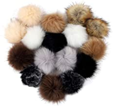 Outuxed 16pcs 5 Inches Faux Fur Pom Pom for Hat with Rubber Band Fluffy Hat Pom Poms for Knitting Crochet Hat Scarf Key Ring Bag Accessories, 8 Colors, 12cm