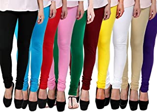 FABLAB Women's Cotton Lycra Churidar leggings Combo Pack of-10-Fits to Waist Size-26inch-34inch (Free Size, Black,Skyblue,Red,Lightpink,Darkgreen,Maroon,Yellow,White,Beige,Blue).