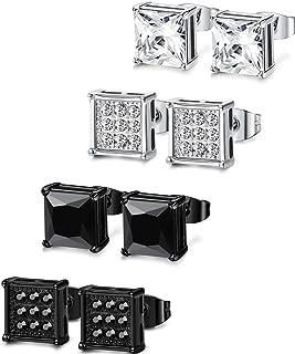 4-8 Pairs Stainless Steel Stud Earrings for Men Women Square CZ Earrings,6-8MM
