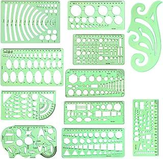 11 قطعة/مجموعة من قوالب الرسم الهندسي استنسل متعدد الوظائف قياس مسطرة للدراسة والتصميم وبناء لوازم المكتب المدرسية