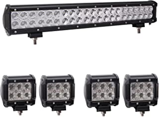 Bangbangche 1X 20'' 126W Flood Spot Combo CREE LED Light Bar, 4X 4'' 18W Flood Led Pods Lights Fog Lights, Waterproof Super Bright, Jeep Wrangler Boat Truck Tractor Trailer Off-Road, 1 Year Warranty