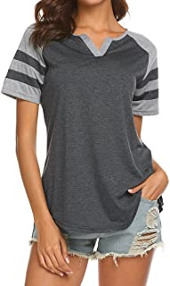 Locryz Women's Summer V Neck Raglan Short Sleeve Shirts Casual Blouses Baseball Tshirts Top