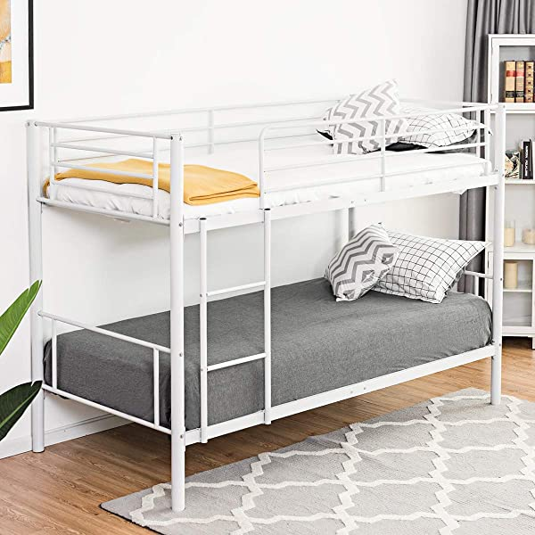 Costzon Twin Metal Loft Bed Twin Over Twin Bunk Beds Frame W Ladder For Boys Girls Kids Children Bedroom Dorm White