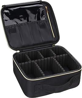 حقيبة المكياج السفرية، سامتور – حقيبة ترتيب مستحضرات التجميل الاحترافية، حقيبة للإكسسوارات، حقيبة للأدوات (أسود- متوسط)