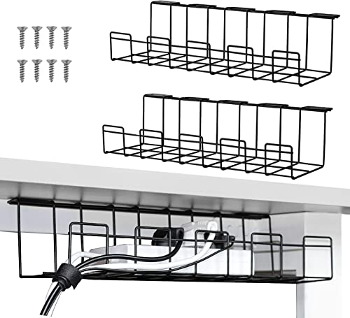 2 Packs Cable Management Tray, 40cm Under Desk Cord Organizer for Wire Management, Metal Wire Cable Holder for Desks,...