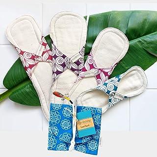 南インド「Eco Femme」布ナプキン (防水あり)軽い日~夜用4枚+キャリーポーチ GOTS認定品