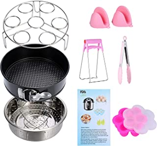 Instant Pot Accessories Set 8 Pcs 5,6,8Qt Steamer Basket Non-Stick Springform Pan, Steamer Basket, Egg Steamer Rack, Silicone Kitchen Tongs, Mini Mitts Fits 5,6,8Qt Instant Pot Pressure Cooker (Pink)
