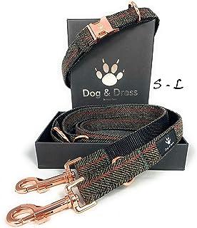 Dog Collar and Lead Set, Rose Gold, Adjustable, Dog Lead 2m, 3 Rings, Carabiner, Strong Tweed + Nylon, Gift Dog (M/L 40-63 cm, dark brown)
