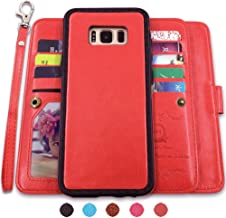 CASEOWL Galaxy S8 Cases,Magnetic Detachable Lanyard Wallet Case with [8 Card Slots+1 Photo Window][Kickstand] for Galaxy S8-5.8 inch, 2 in 1 Premium Leather Removable TPU Case(Red)