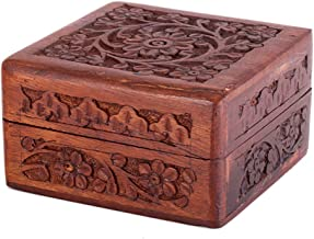 Store Indya Mother's Day Gift Box Exotic Hand Carved Rosewood Trinket Keepsake with Intricate Floral Patterns, 4 x 4 x 2.5...
