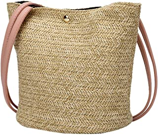 Qootent New Women Messenger Bag Casual Woven Shoulder Bag Straw Bag Bucket Bag