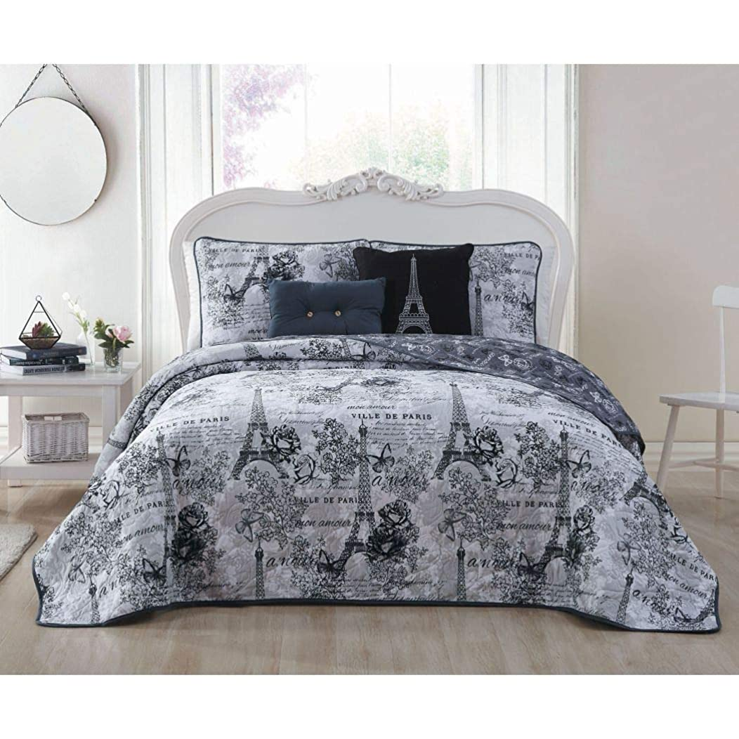 un 5 Piece Girls Black Grey I Love Paris Quilt King Set, Eiffel Tower Bedding France Inspired French Pattern Floral Flowers Artistic City of Love, Reversible Butterflies Microfiber Polyester