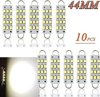 TORIBIO 44mm Bright White 6000k 12V Festoon LED Bulb, 12SMD 1210 Rigid Loop 1.73