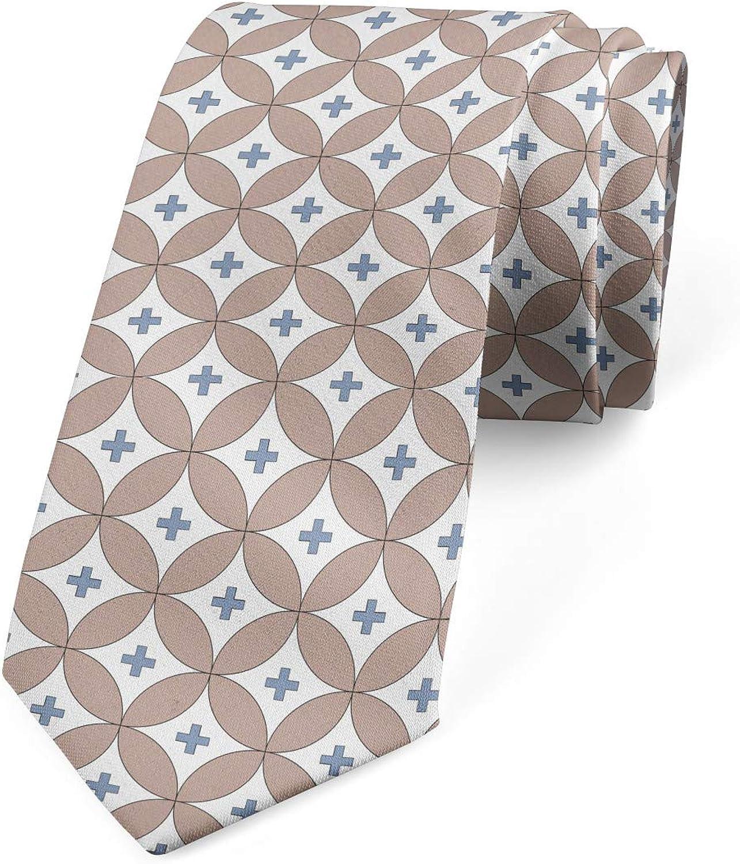 Ambesonne Men's Tie, Circles Plus Signs, Necktie, 3.7
