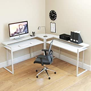 Ryan Rove Belmac Glass Large Modern L-Shaped Desk Corner Computer Office Desk for Small PC Laptop Study Table Workstation Home Office with Keyboard Shelf - White Frame and White Glass