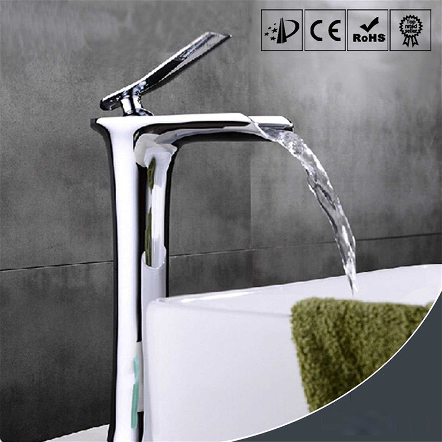 LHbox Basin Mixer Tap Bathroom Sink Faucet Modern chrome plated brass sit-in - plus high-Single Handle waterfall hot and cold mixing valve bathroom basin bathroom sink basin mixer