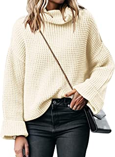 ANRABESS Women's Casual Turtleneck Long Sleeve Oversized Sweater Pullover Baggy Knit Jumper