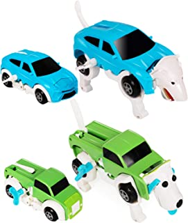 Transforming Toy Cars, 2 Pack Automatic Deformation 2 IN 1 Wolf & Dog Transformation Animal Robot Toys Car Transform Vehic...