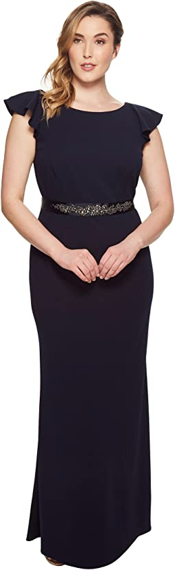 Plus Size Fluttered Short Sleeve Beaded Crepe Gown
