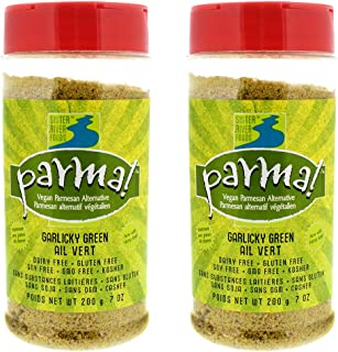 Parma! Vegan Parmesan - Garlicky Green, Dairy-Free, Soy-Free and Gluten-Free Vegan Cheese, Plant-Based Superfood, Kosher (7 ounces, Pack of 2)