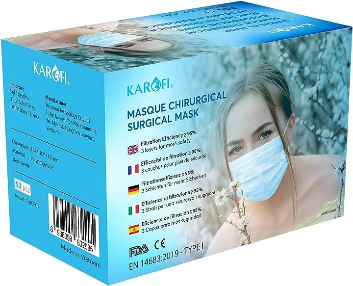Mascherine chirurgiche certificate ce tipo i medico, testate e approvate, bfe 95%, 3 strati, - 50 pezzi karofi KA9632995