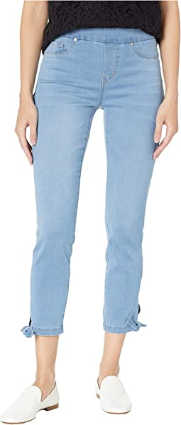 Soft Touch Denim Pull-On Crop w/ Knot Detail in Real Blue