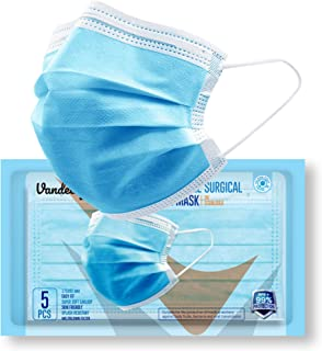 Vandelay 3 Ply Non-Woven Fabric Disposable Surgical Mask - BFE & PFE 99.5% - UV Sterilized - 3 Layer Face Masks (Blue, Wit...