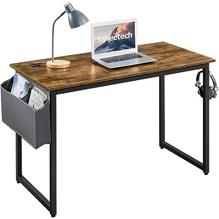 Yaheetech Bureau Table Informatique Table d'étude avec Cadre Stable en Métal pour Bureau/Salon/Salle d'étude, Style Industriel, Marron Rustique