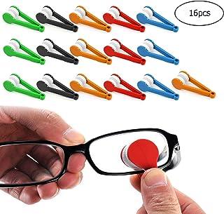 GCOA 16 Piezas Mini Gafas de Sol Gafas Gafas de Microfibra Limpiador Cepillo Suave Herramienta de Clip de Limpieza (Color Aleatorio)