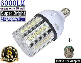 40W LED Bulbs 6000Lumen 5000k Daylight E26 Medium Base LED Corn Light Bulb Equivalent 175W to 250W Metal Halide Bulb HID HPS Bulb for Indoor Outdoor Garage Workshop Warehouse Backyard