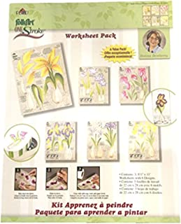 Donna Dewberry One Stroke Reusable Reversible Painting Teaching Guides Paint Worksheet Pack Bulb Flowers Iris Day Lillies ...