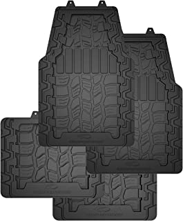 Cooper Tires Discoverer AT3ᵀᴹ All Weather Rubber Floor Mat, 4-Piece, Ridge Border Design, Trim-To-Fit, Heavy Duty, Waterproof, Fit For Most Cars, Trucks, SUVs and Vans (Black)