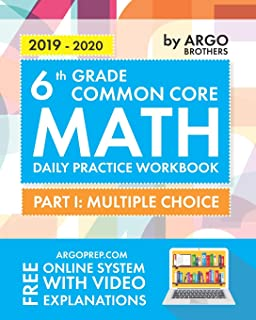Argo Brothers Math Workbook, Grade 6: Common Core Math Multiple Choice, Daily Math Practice Grade 6