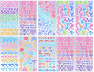 ULTNICE 20 Sheets Sticker Sheets Stickers for Kids Glitter Shapes Stickers Self- Adhesive Stickers Kids Arts Crafts Suppli...