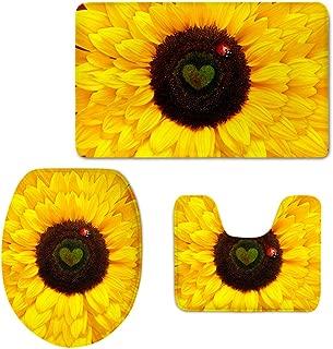 Coloranimal 3 Piece Bathroom Rug Sets Yellow Sunflower Toilet Floor Contour Mat Toilet Lid Tank Top Covers