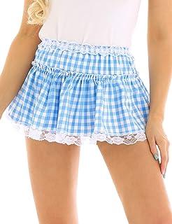 inlzdz Women's Pleated Lace Hem Gingham A-line Mini Skirt Sissy Adult Baby Crossdress Fancy Dress