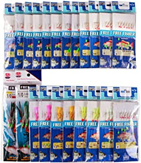 FREE FISHER 22 Packs Bait Rigs Saltwater, Saltwater Fishing Bait Rigs, Bait Rigs Fish Skin Feather Hooks for Freshwater, Glow Fishing Beads High Carbon Hooks for Freshwater