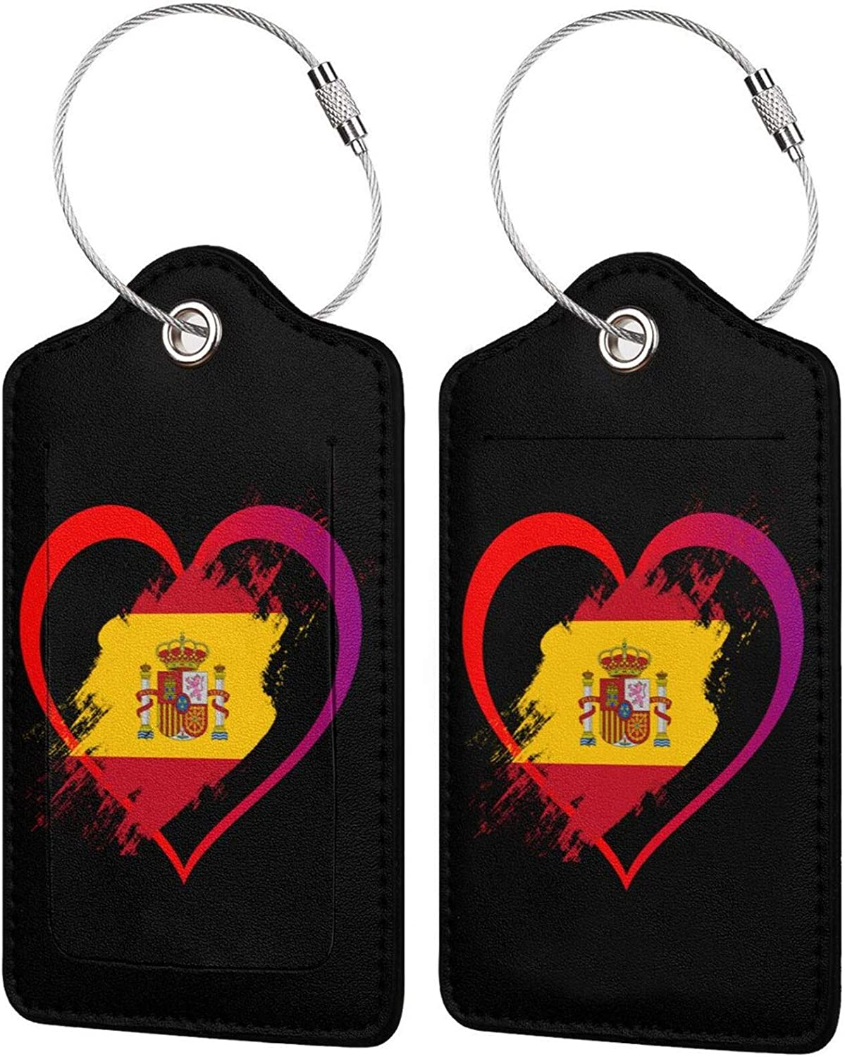 Heart Shaped Flag of Spain Animer and price revision PU Leather R Baggage Bag 5% OFF Luggage Tags