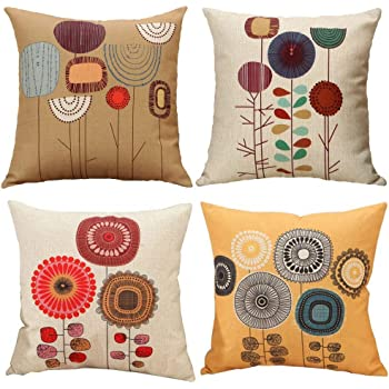 Traney Pack of 4 Cartoon Flower Linen Cushion Covers Decorative Square Throw Pillow Case for Couch Livingroom Sofa Bed with Invisible Zipper,18x18 Inches