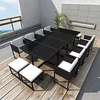 GOTOTOP - Juego de muebles de jardín de polirratán, 1 mesa + 8 sillas + 4 taburetes + 12 cojines + 8 cojines de apoyo | Juego de comedor de jardín de 13 piezas de ratán negro