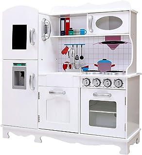 Toy Kitchen, Keezi Kids Childrens Pretend Kitchen Playset-White