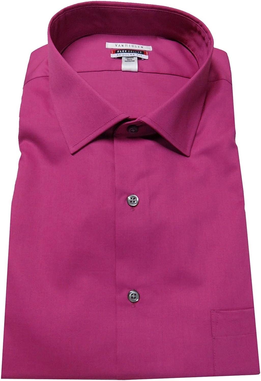 Van Heusen Men's Flex Collar Regualr-Fit Dress Shirt Solid (Fuschia, 16-34/35)