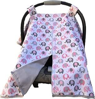 Vera Elephant 100% Breathable Cotton Baby Car Seat Cover (Petal Grey)