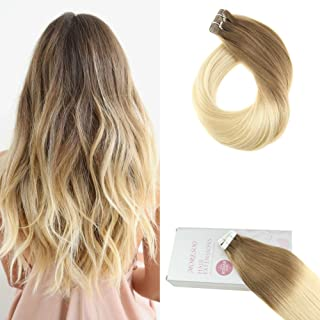Moresoo 16 Inch 100G 40PCS Tape on Hair Extensions Ombre Colored Light Brown #6 Fading to Bleach Blonde #613 Dip Dye Color 100% Remy Human Hair Extensions Tape in Hair Ombre Tape in Extensions