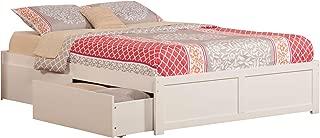 Atlantic Furniture Concord Platform 2 Urban Bed Drawers, King, White