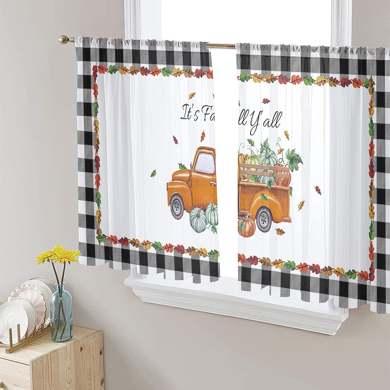 Semi Cheap bargain Voile Sheer Gifts Window Curtains Thanksgiving Truck Rod Pumpkin