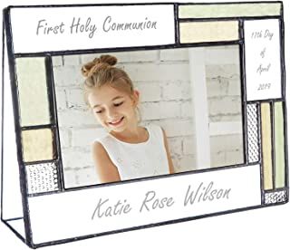 First Communion Gifts for Girls Or Boys Personalized Picture Frame Custom Engraved Glass 4x6 Horizontal Photo Green and Antique Yellow J Devlin Pic 430-46H EP575