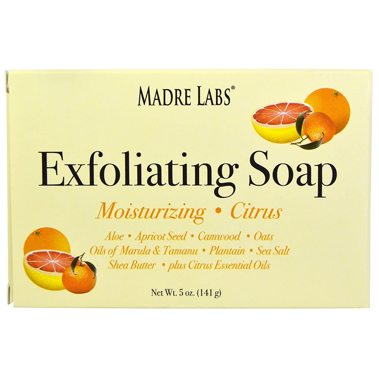 ピクニックもちろん製作マドレラブ シアバター入り石鹸 柑橘フレーバー Madre Labs Exfoliating Soap Bar with Marula & Tamanu Oils plus Shea Butter